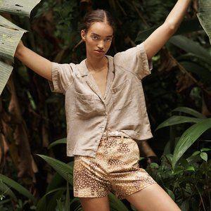 linen-blend raglan camp shirt